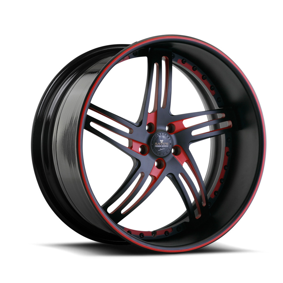 Savini Forged SV20s Black and Red XLT Wheels