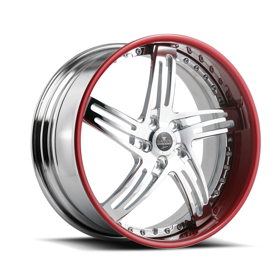 Savini Forged SV20s Chrome and Red Lip XLT Wheels
