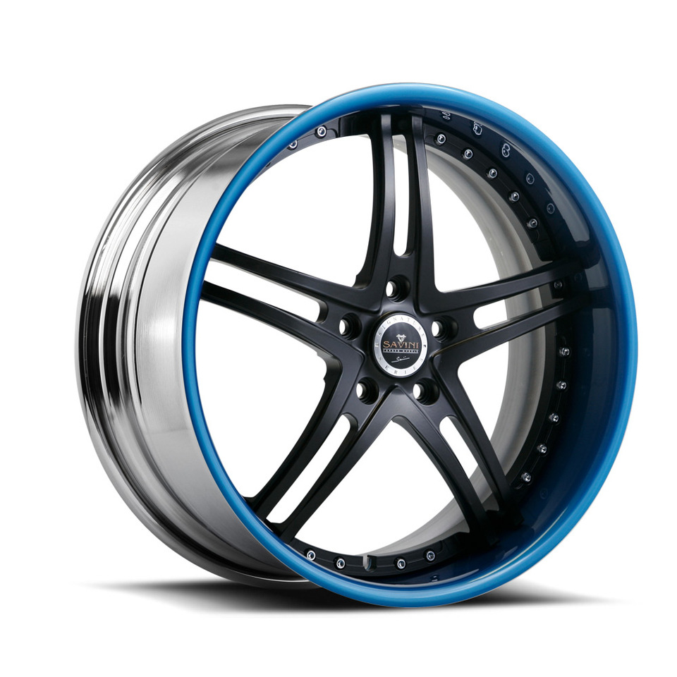Savini Forged SV23s Black and Blue XLT Wheels