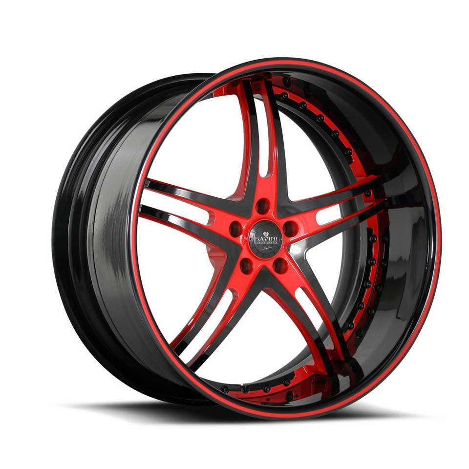 Savini Forged SV23s Black and Red XLT Wheels