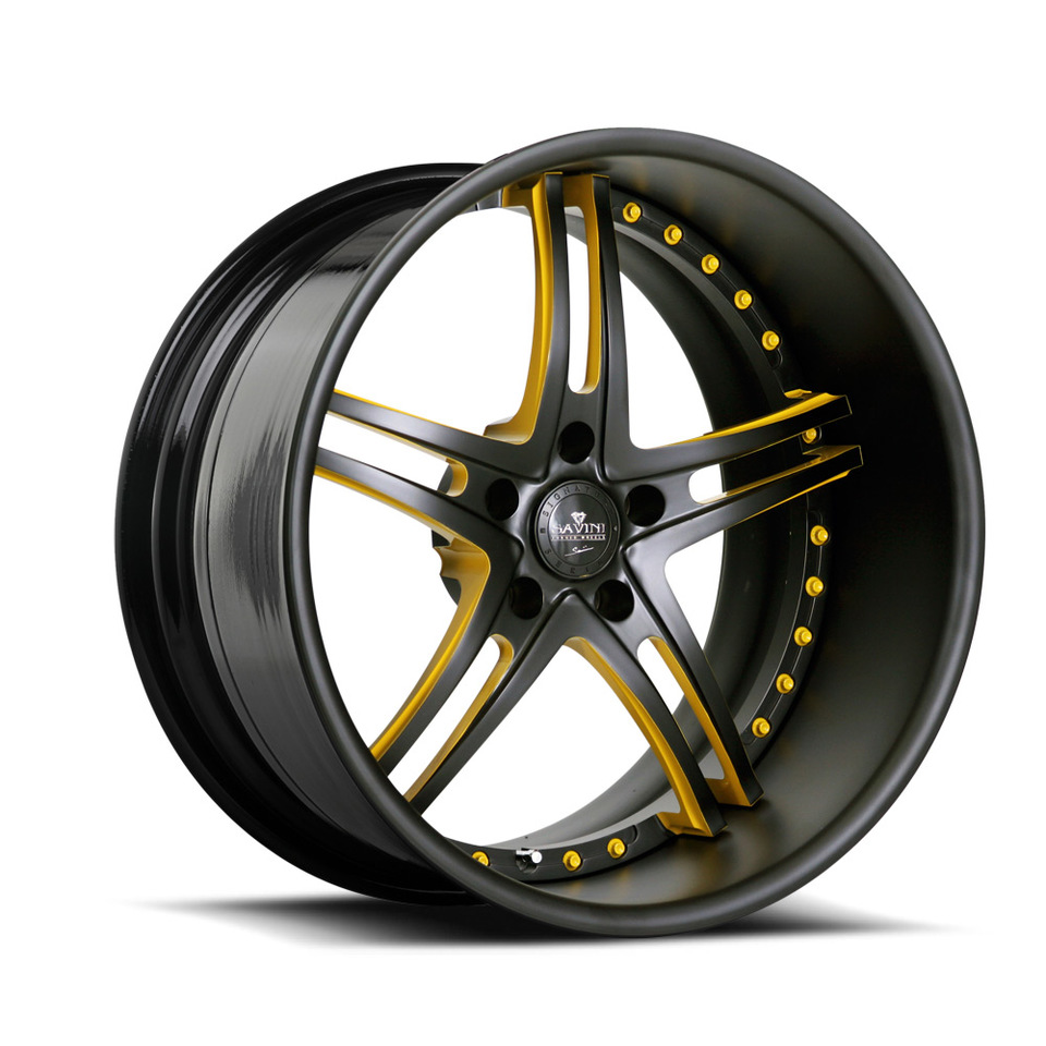 Savini Forged SV23s Black and Yellow XLT Wheels