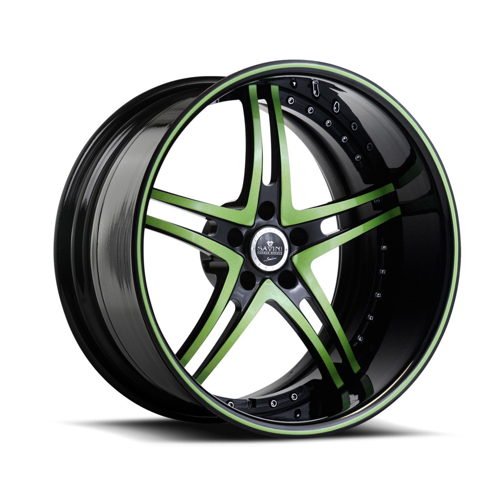 Savini Forged SV23s Green and Black XLT Wheels