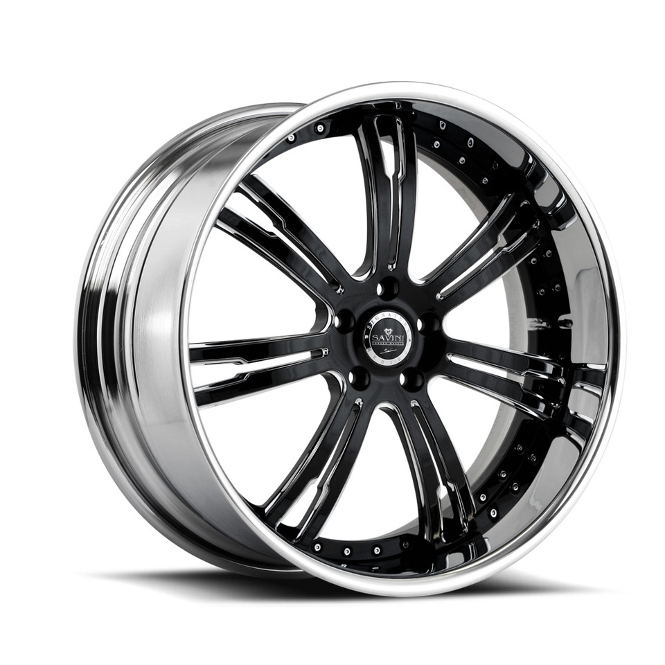 Savini Forged SV24s Chrome and Black XLT Wheels