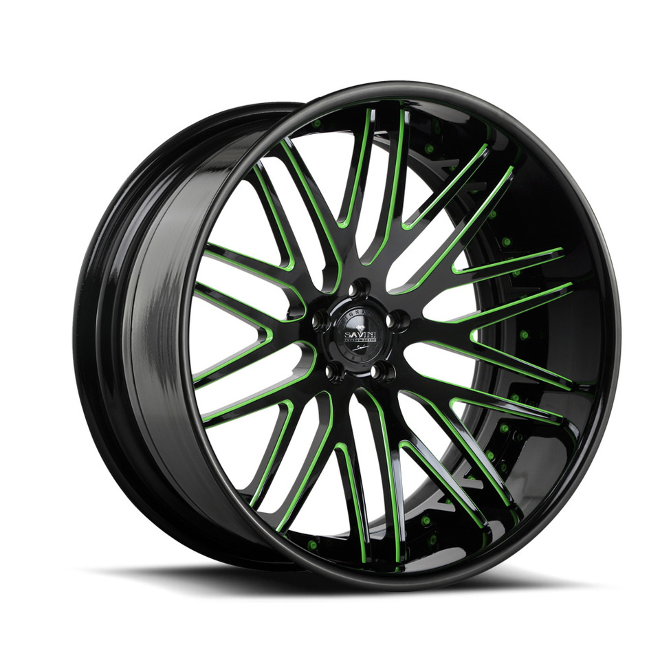 Savini Forged SV25c Black and Green XC Wheels