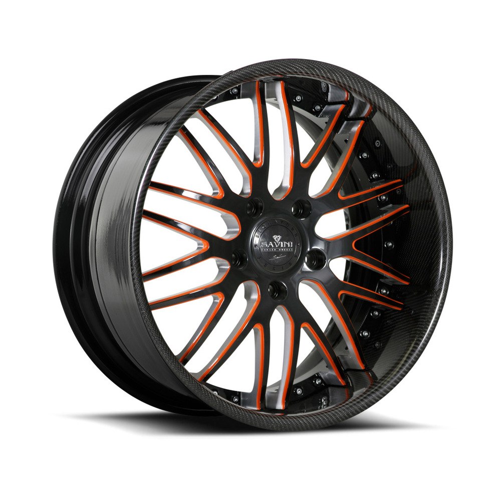Savini Forged SV25s Black Orange Carbon Fiber XLT Wheels