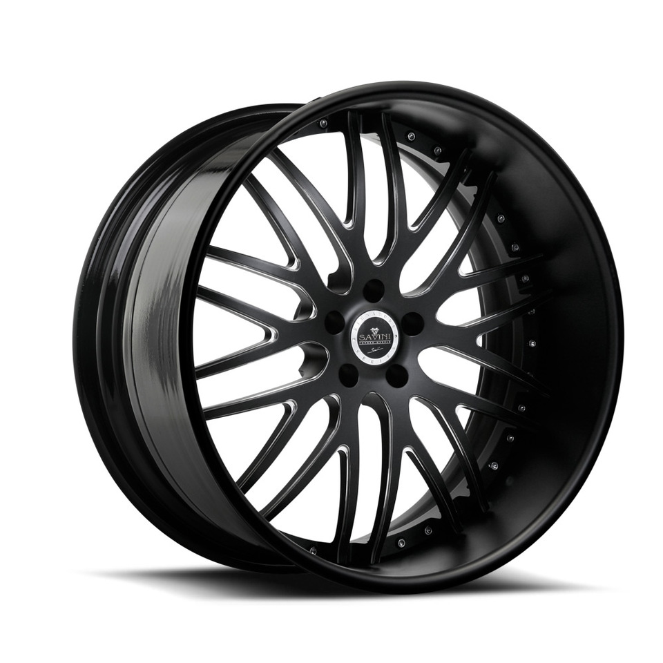 Savini Forged SV25s Black Polished XLT Wheels