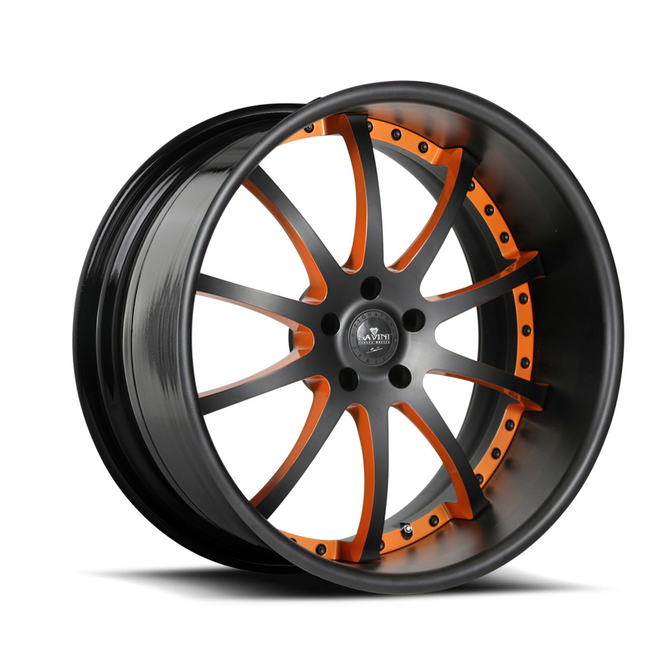 Savini Forged SV26s Black and Orange XLT Wheels