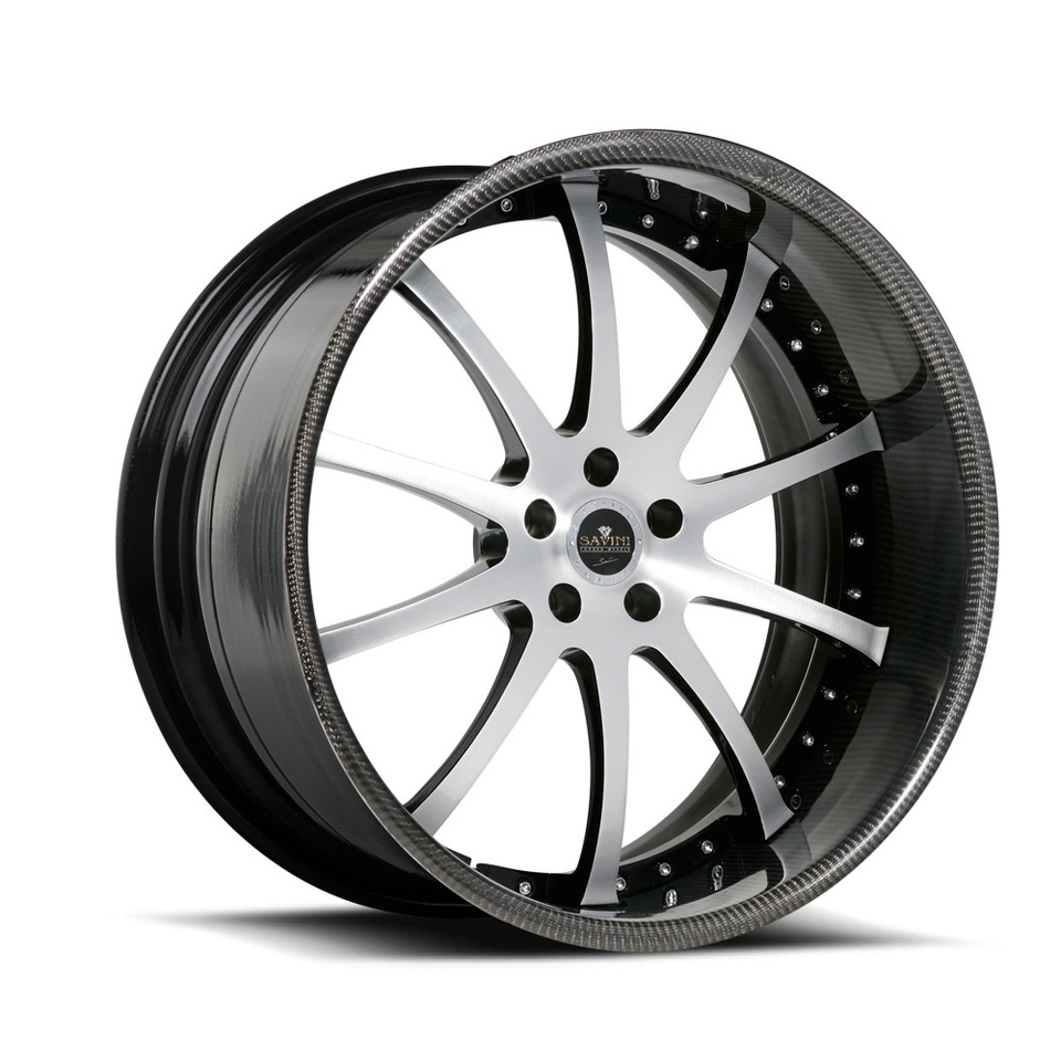 Savini Forged SV26s Brushed Black Carbon Fiber XLT Wheels