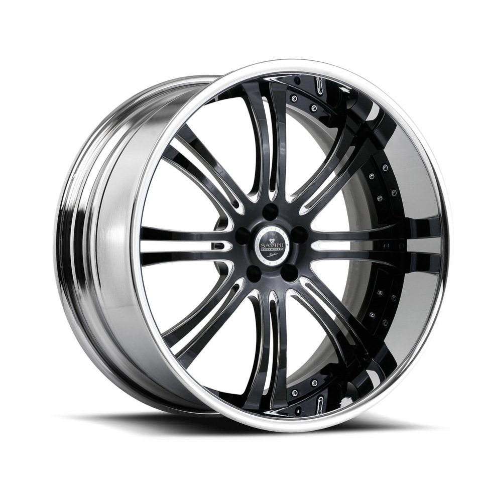 Savini Forged SV27s Black and Chrome XLT Wheels