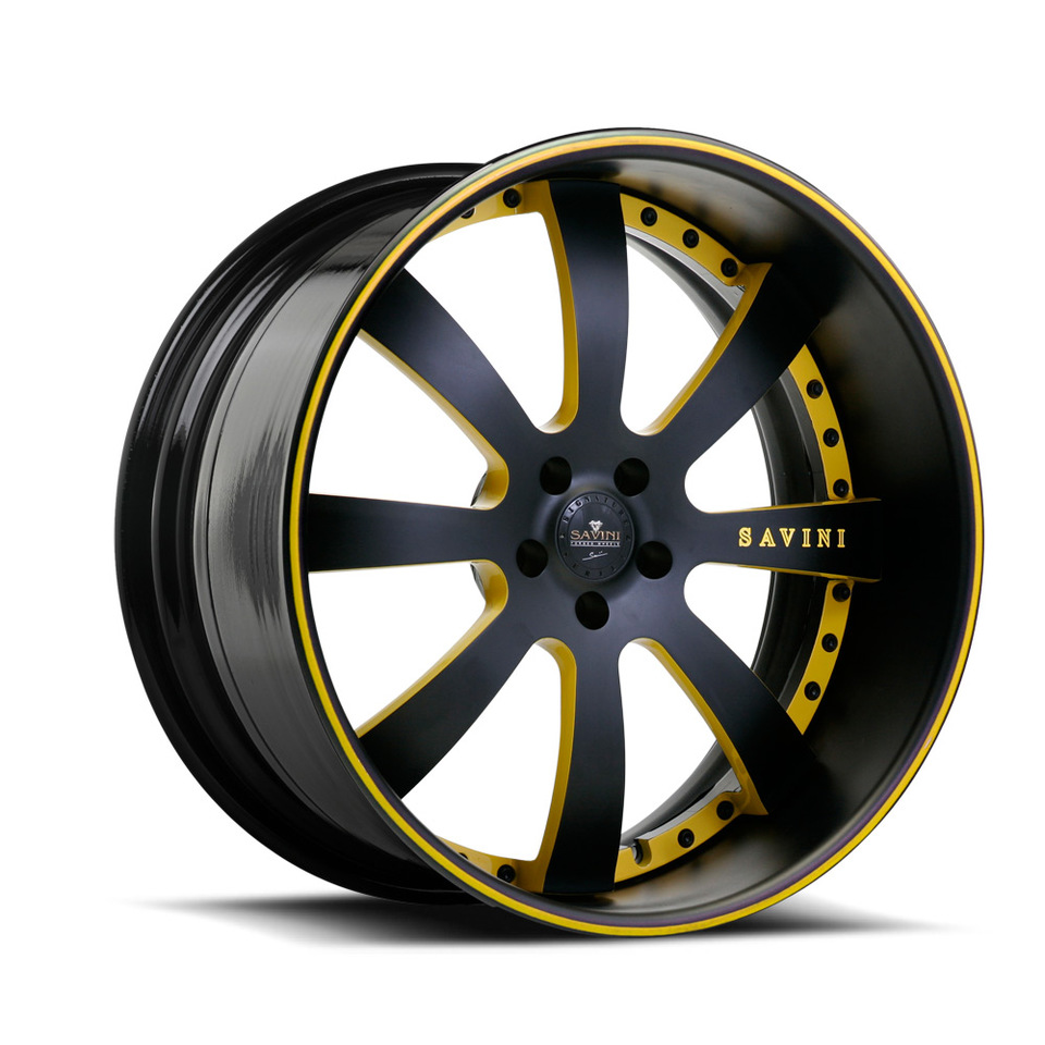 Savini Forged SV28s Black and Yellow XLT Wheels