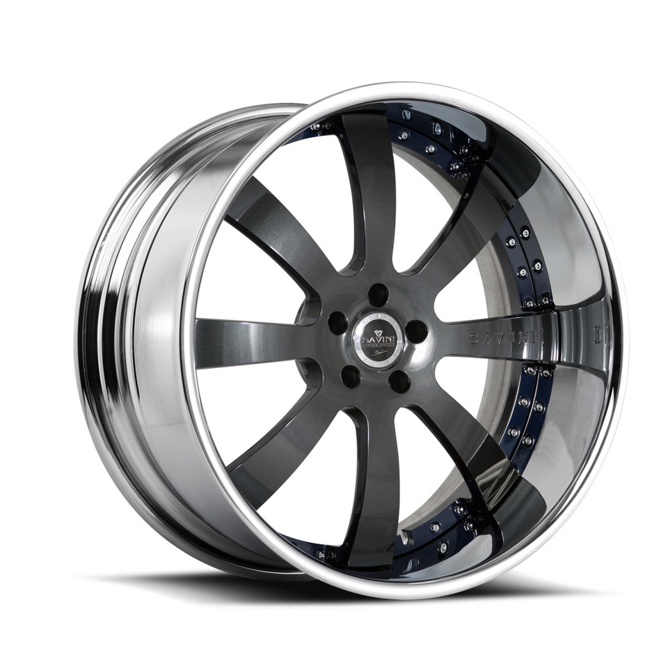 Savini Forged SV28s Grey and Blue XLT Wheels