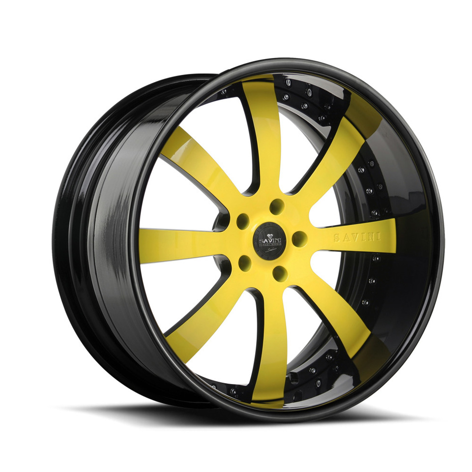 Savini Forged SV28s Yellow and Black XLT Wheels
