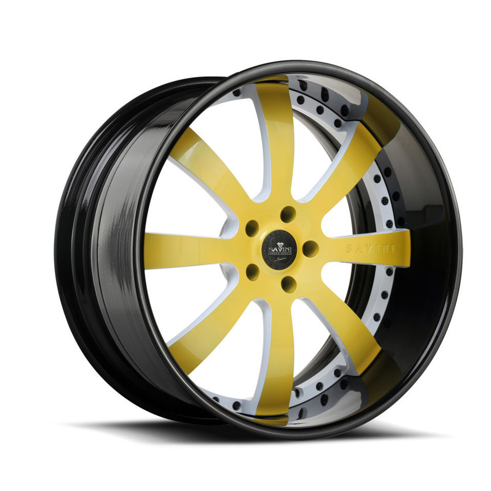 Savini Forged SV28s Yellow White and Black XLT Wheels