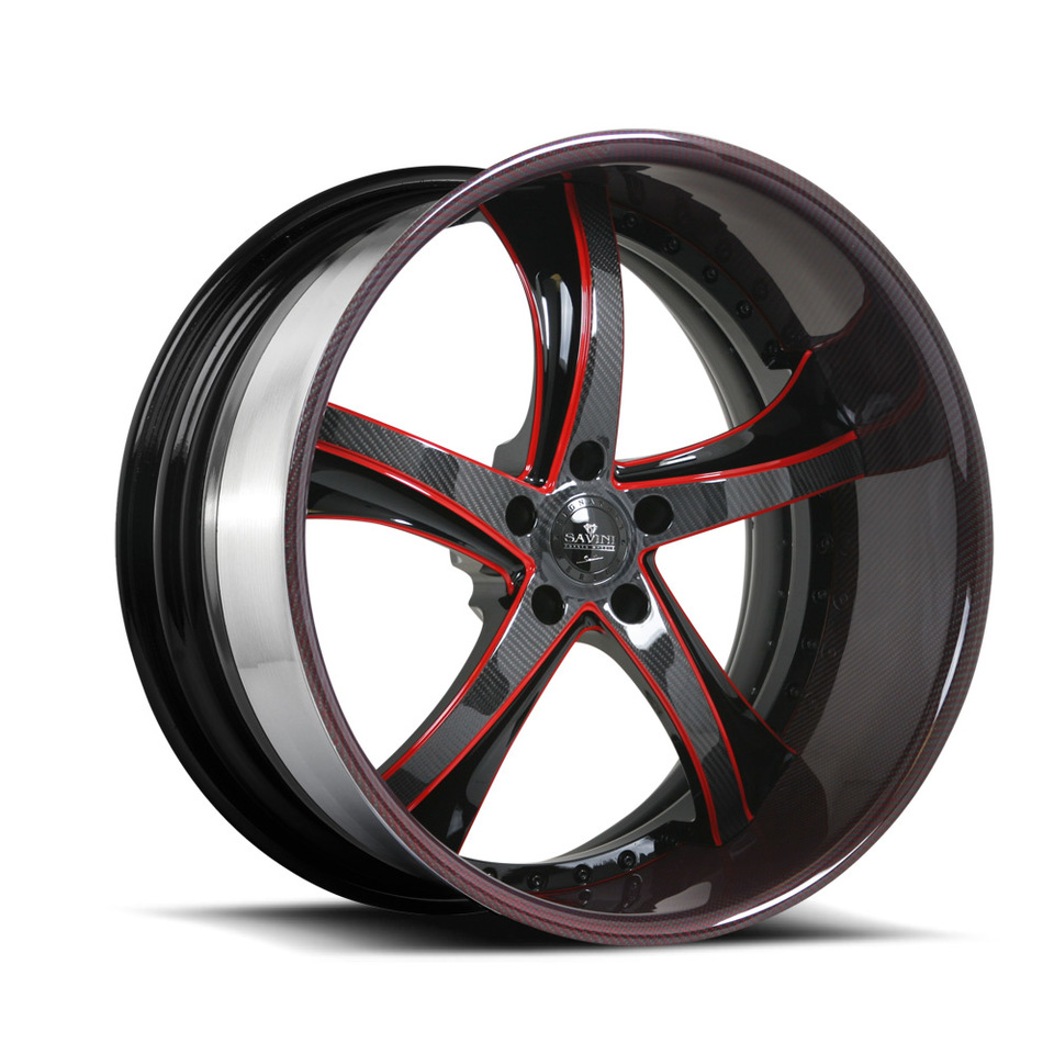 Savini Forged SV29s Red Black Carbon Fiber XLT Wheels