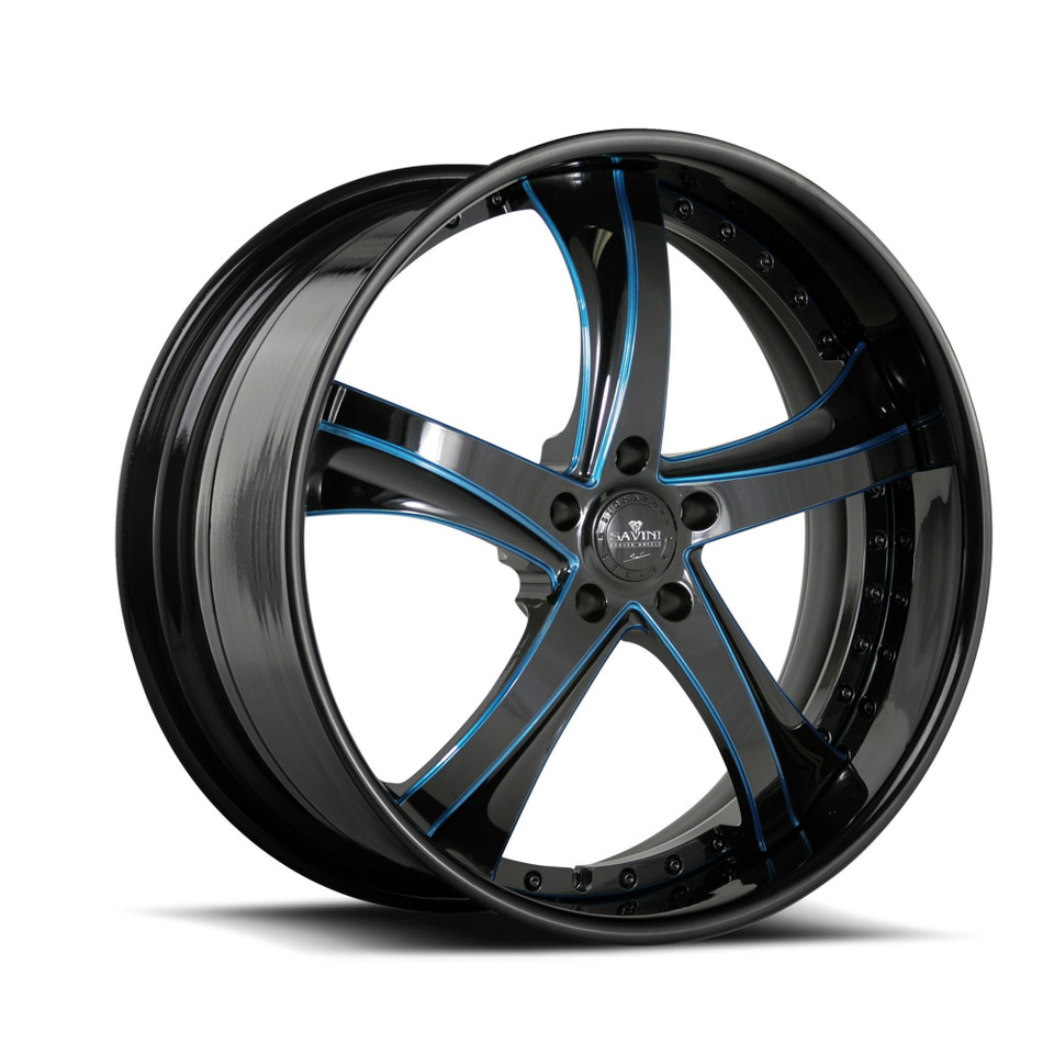 Savini Forged SV29s Black and Blue XLT Wheels