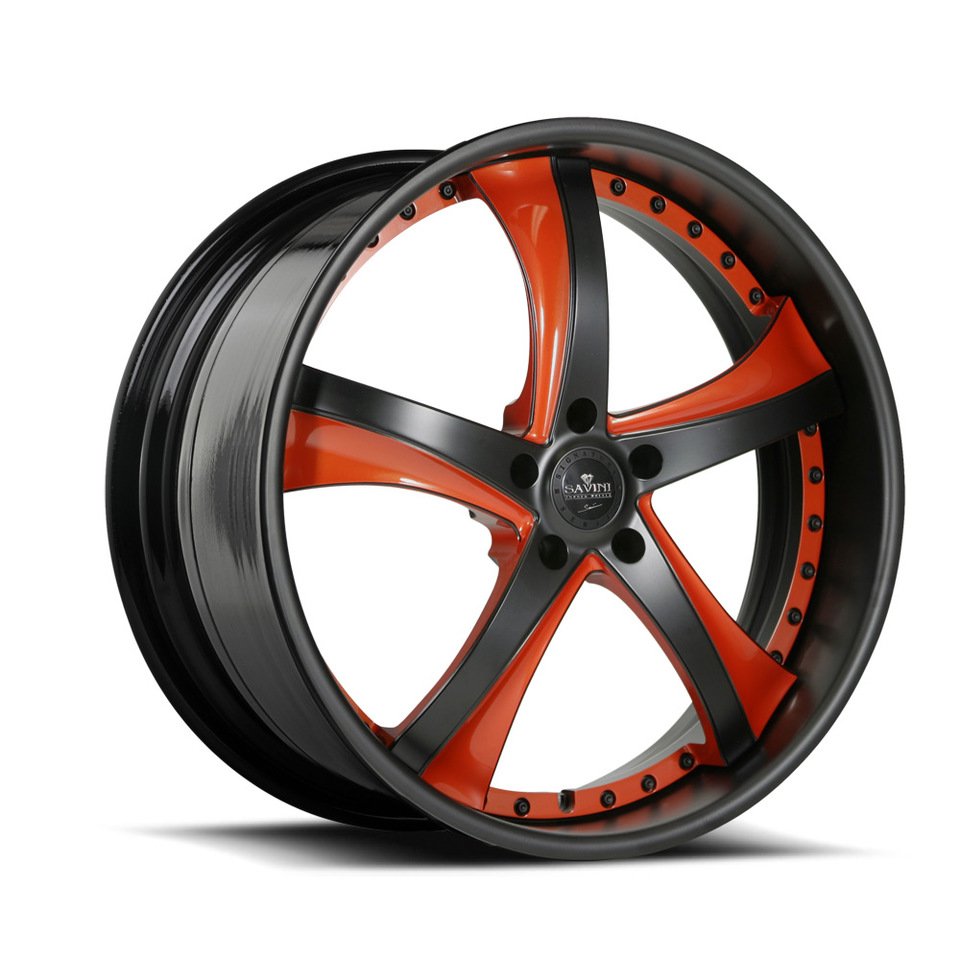 Savini Forged SV29s Black Brown and Orange XLT Wheels