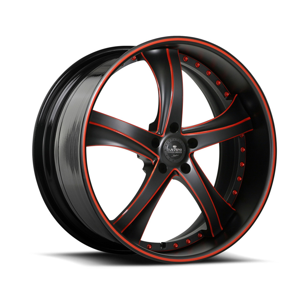 Savini Forged SV29s Black and Orange XLT Wheels