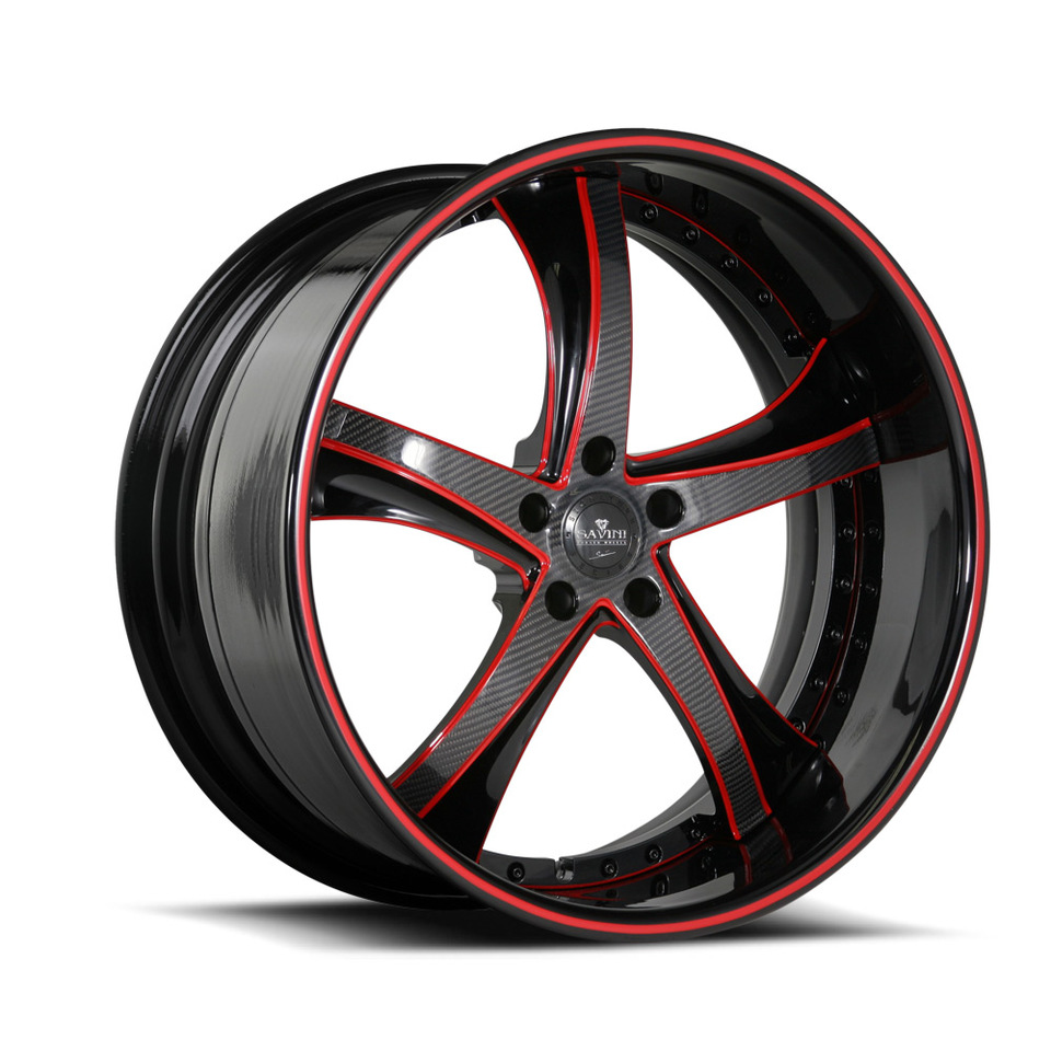 Savini Forged SV29s Black with Red and Carbon Fiber XLT Wheels