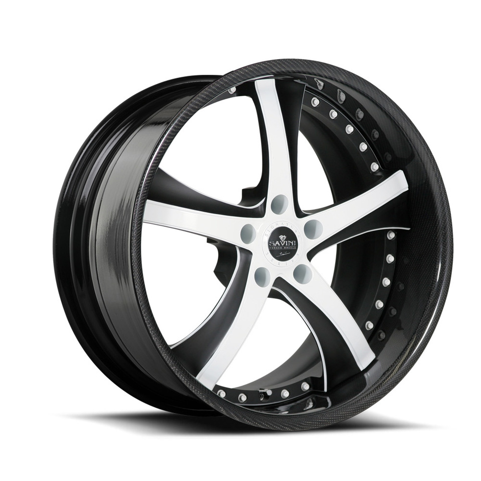 Savini Forged SV29s Black with White and Carbon Fiber XLT Wheels