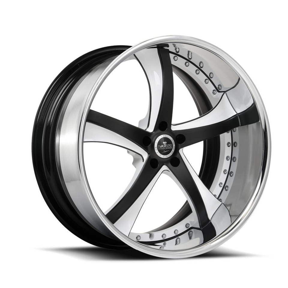 Savini Forged SV29s Black with White and Chrome XLT Wheels