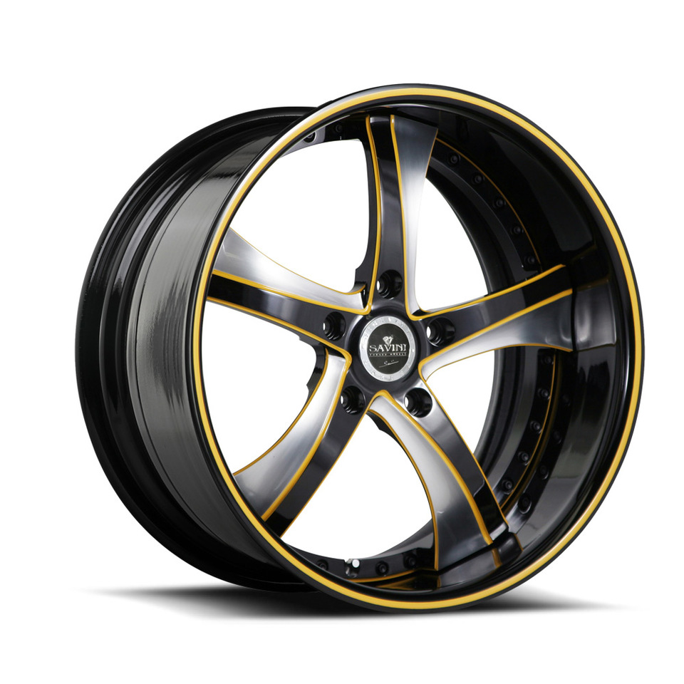 Savini Forged SV29s Black Yellow Brushed XLT Wheels