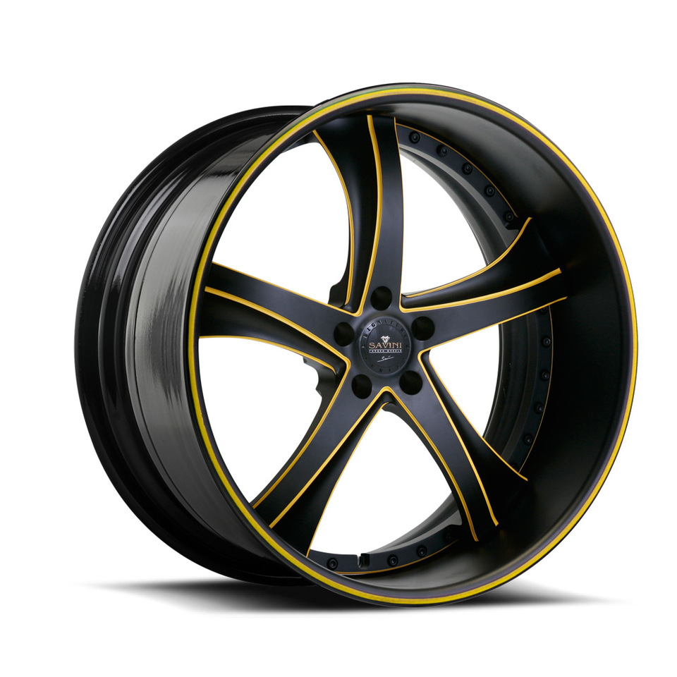 Savini Forged SV29s Black and Yellow XLT Wheels