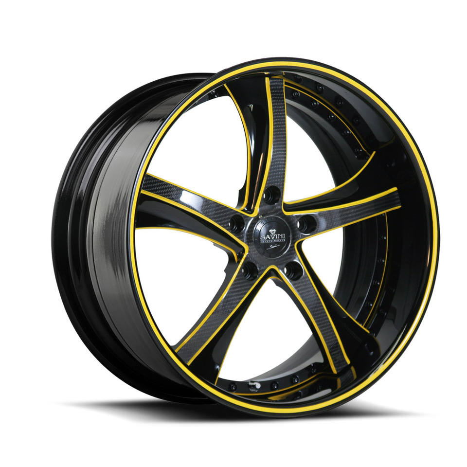 Savini Forged SV29s Carbon Fiber with Yellow and Black XLT Wheels