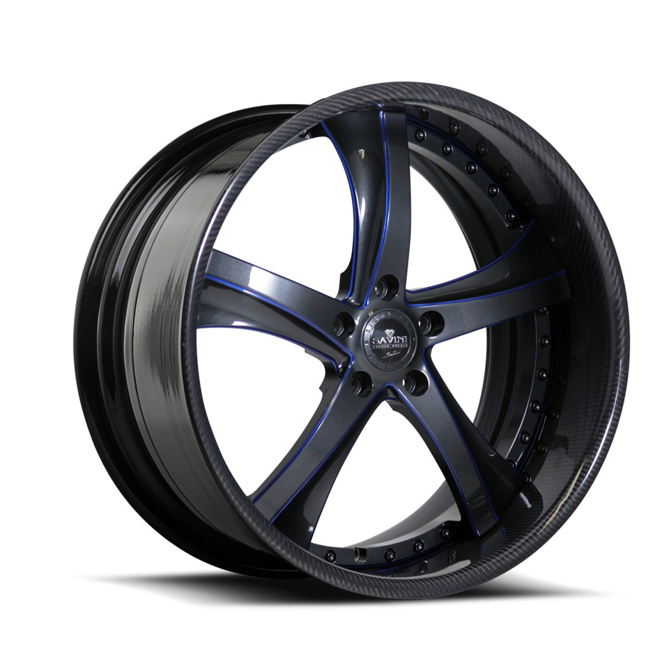 Savini Forged SV29s Grey Blue and Carbon Fiber XLT Wheels