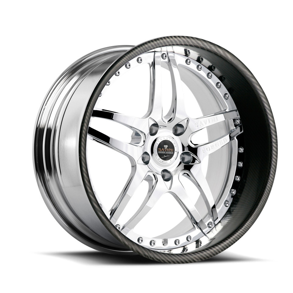 Savini Forged SV2 Chrome and Carbon Fiber Lip Signature Wheels