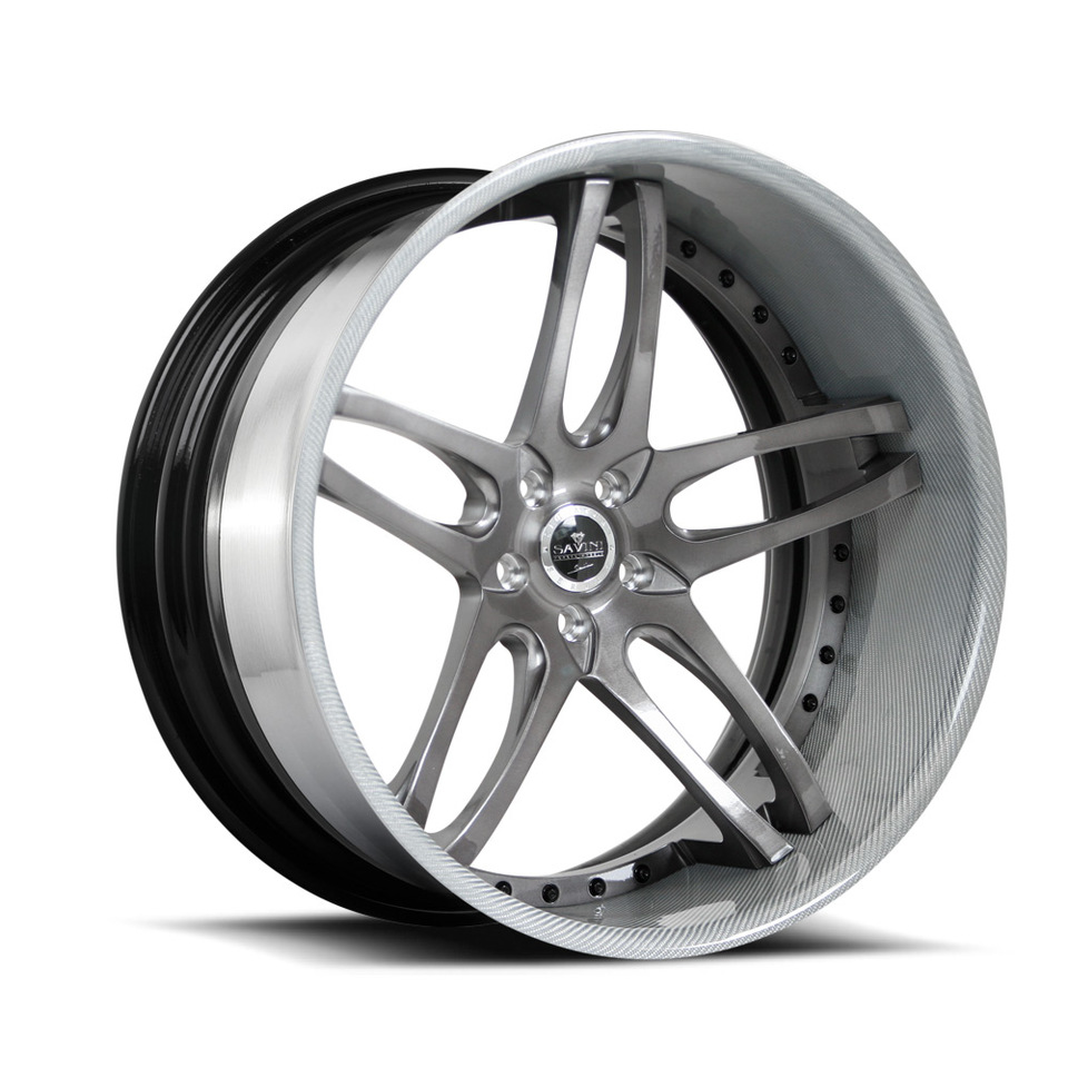 Savini Forged SV2c Brushed Anodized Carbon Fiber Lip XC Wheels