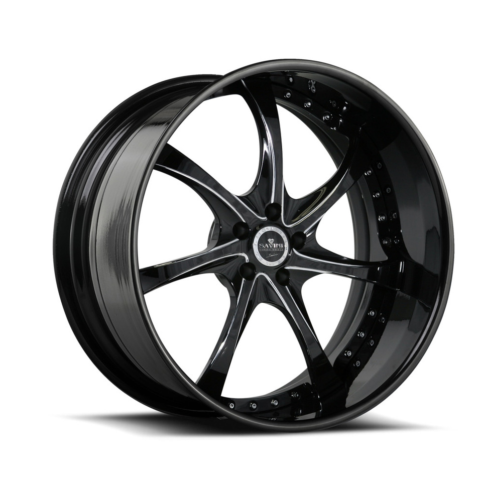 Savini Forged SV31s Black and Chrome XLT Wheels