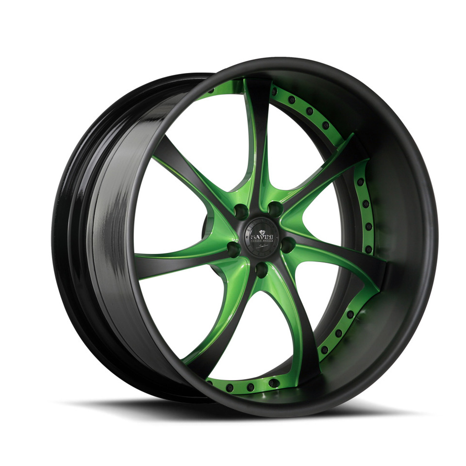 Savini Forged SV31s Black and Green XLT Wheels