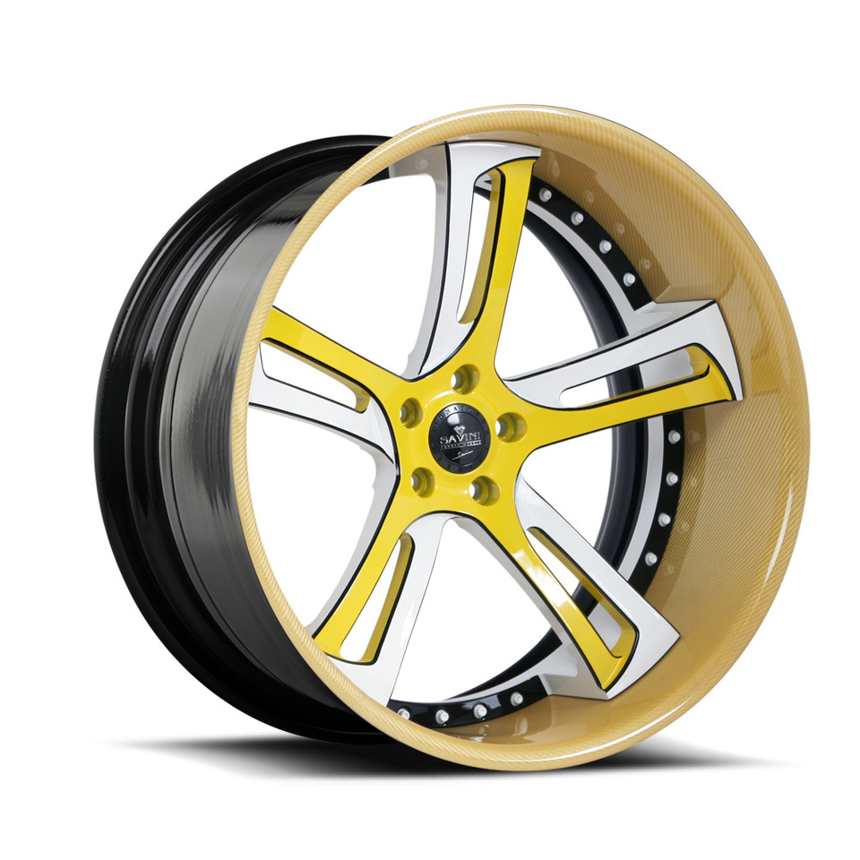 Savini Forged SV32c Yellow and White Carbon Fiber XC Wheels