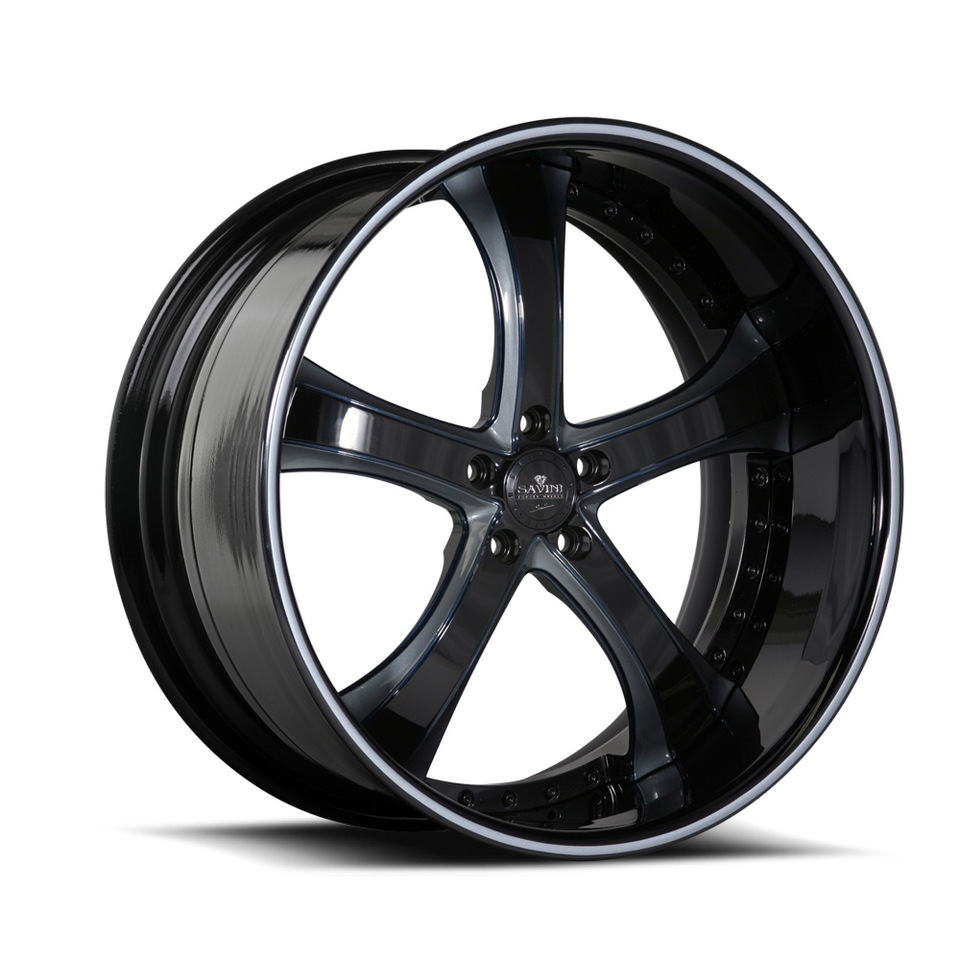 Savini Forged SV33s Black and Blue XLT Wheels