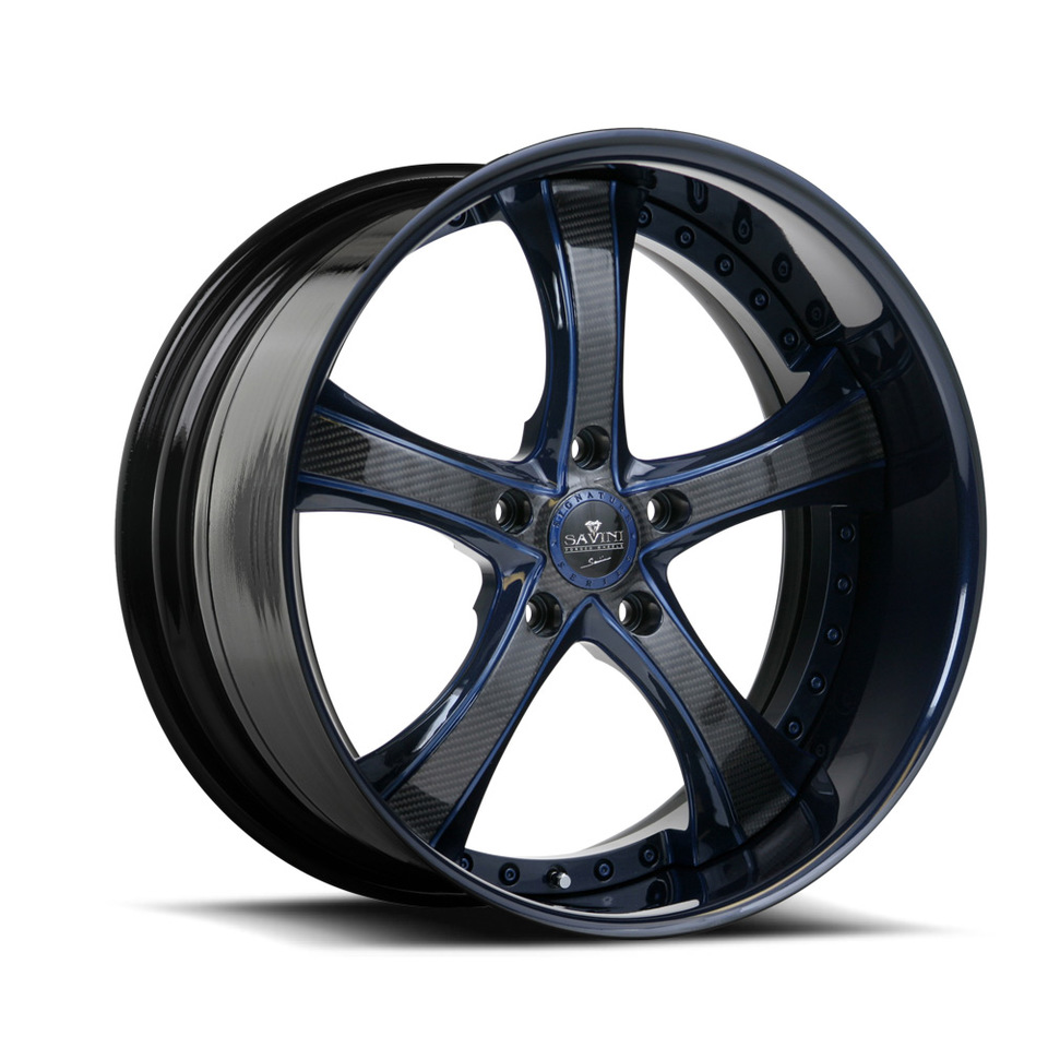 Savini Forged SV33s Carbon Fiber Blue XLT Wheels