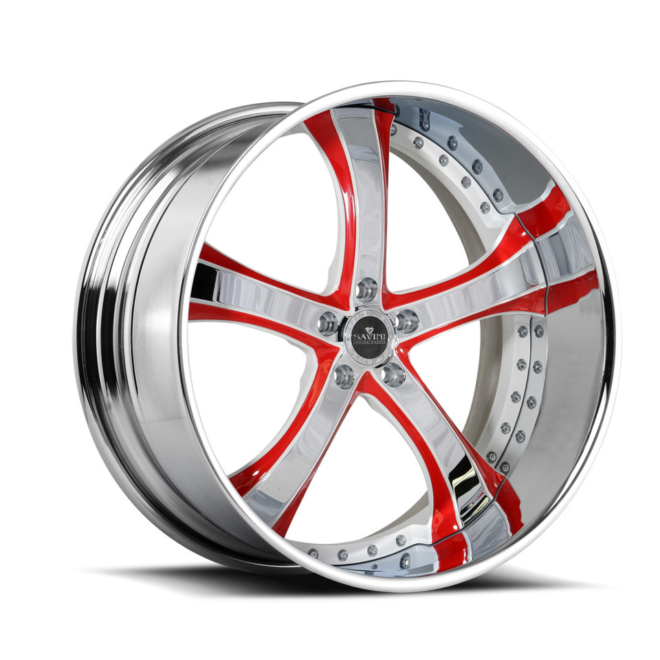 Savini Forged SV33s Chrome Red and White XLT Wheels