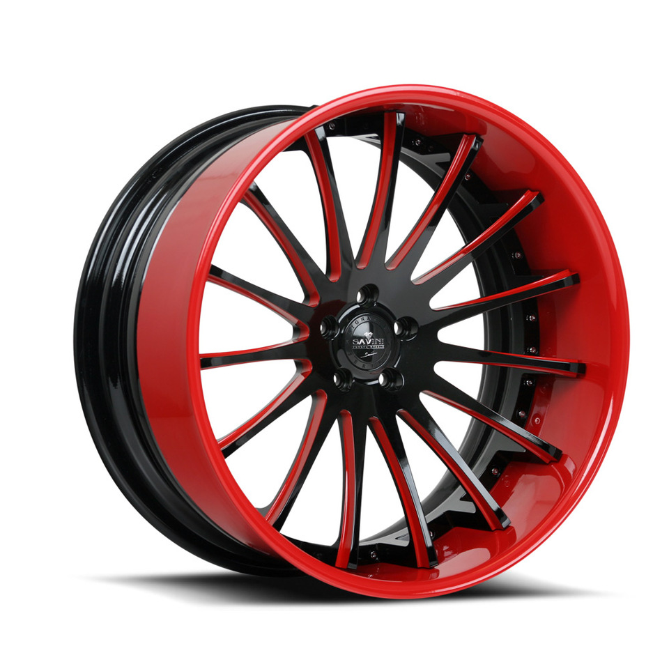 Savini Forged SV34c Black and Red XC Wheels
