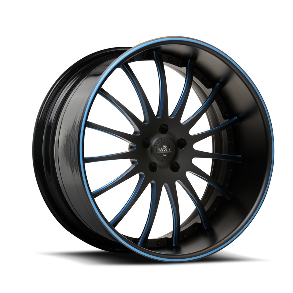 Savini Forged SV34s Black and Blue XLT Wheels