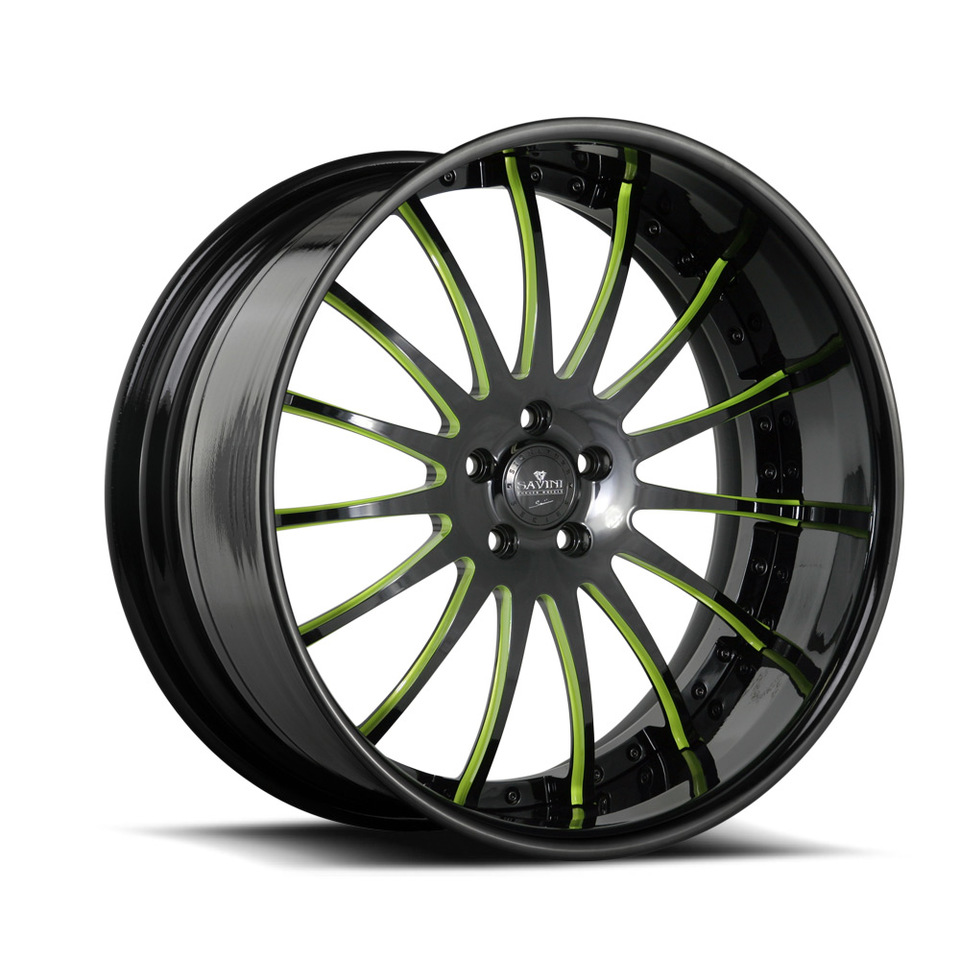 Savini Forged SV34s Black and Green XLT Wheels