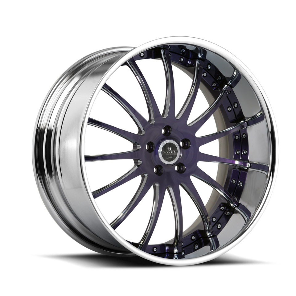 Savini Forged SV34s Chrome and Purple XLT Wheels