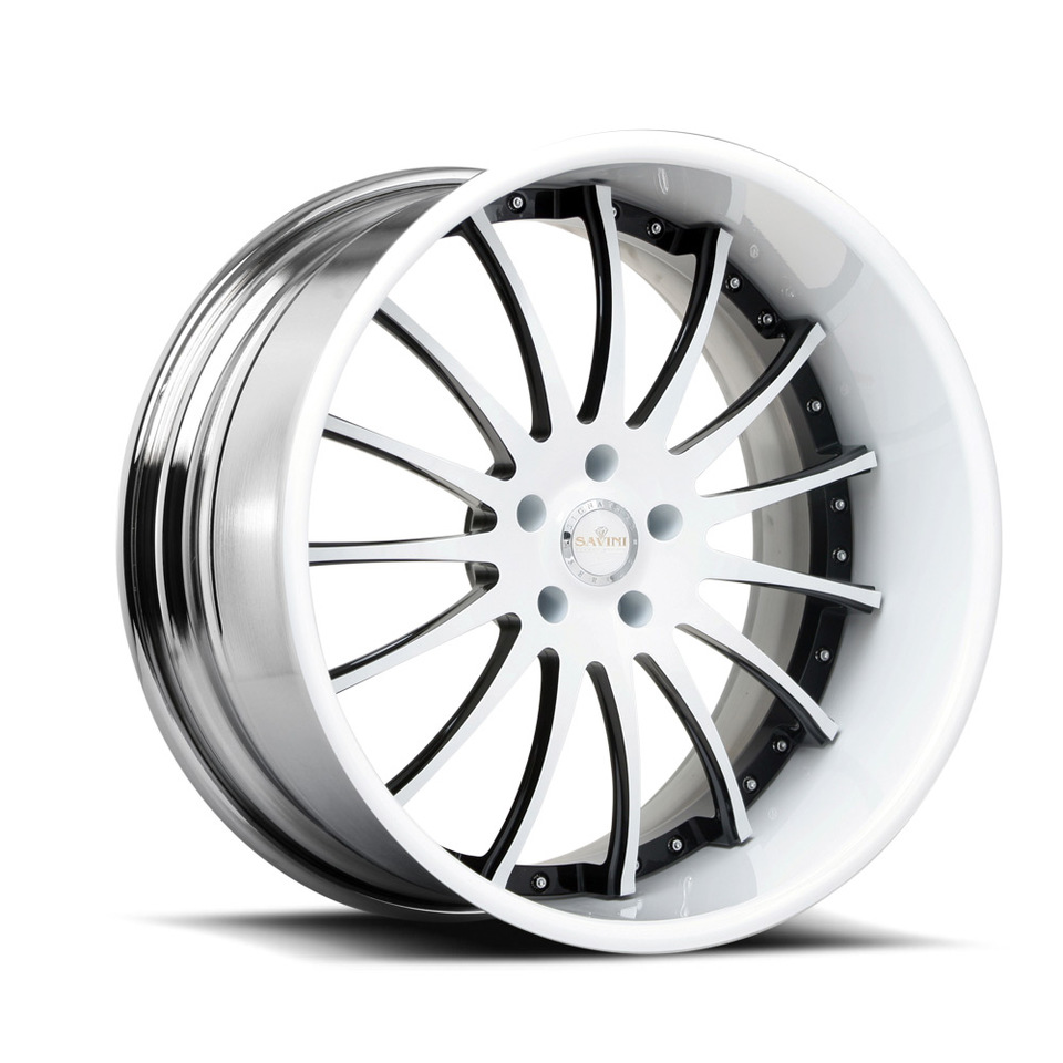 Savini Forged SV34s White and Black XLT Wheels