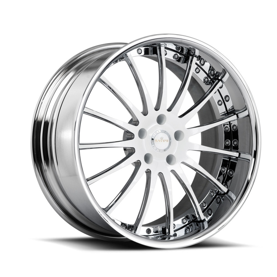 Savini Forged SV34s White and Chrome XLT Wheels