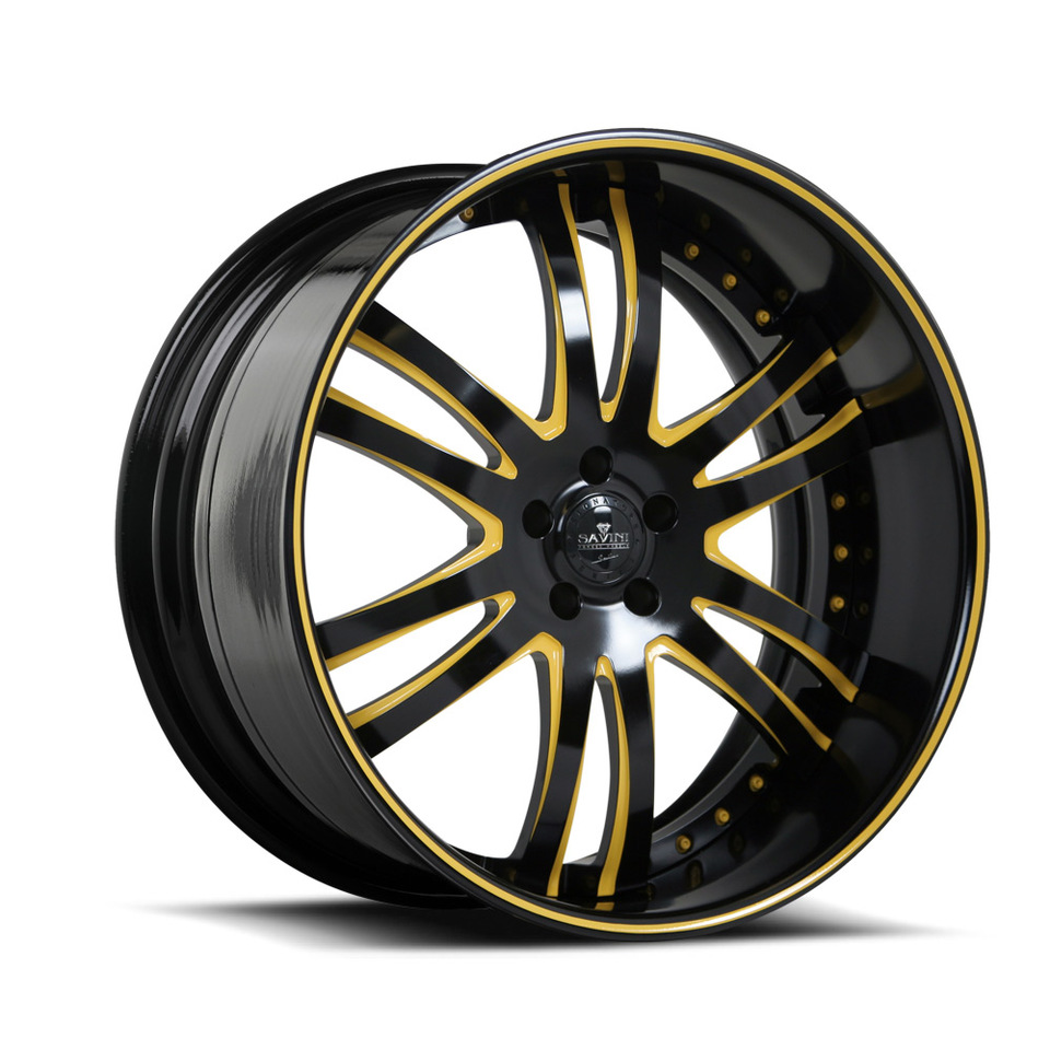 Savini Forged SV35s Black and Yellow XLT Wheels