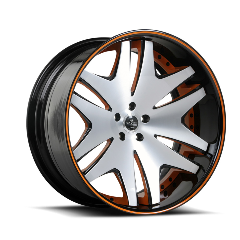 Savini Forged SV36c Brushed Black and Orange XC Wheels