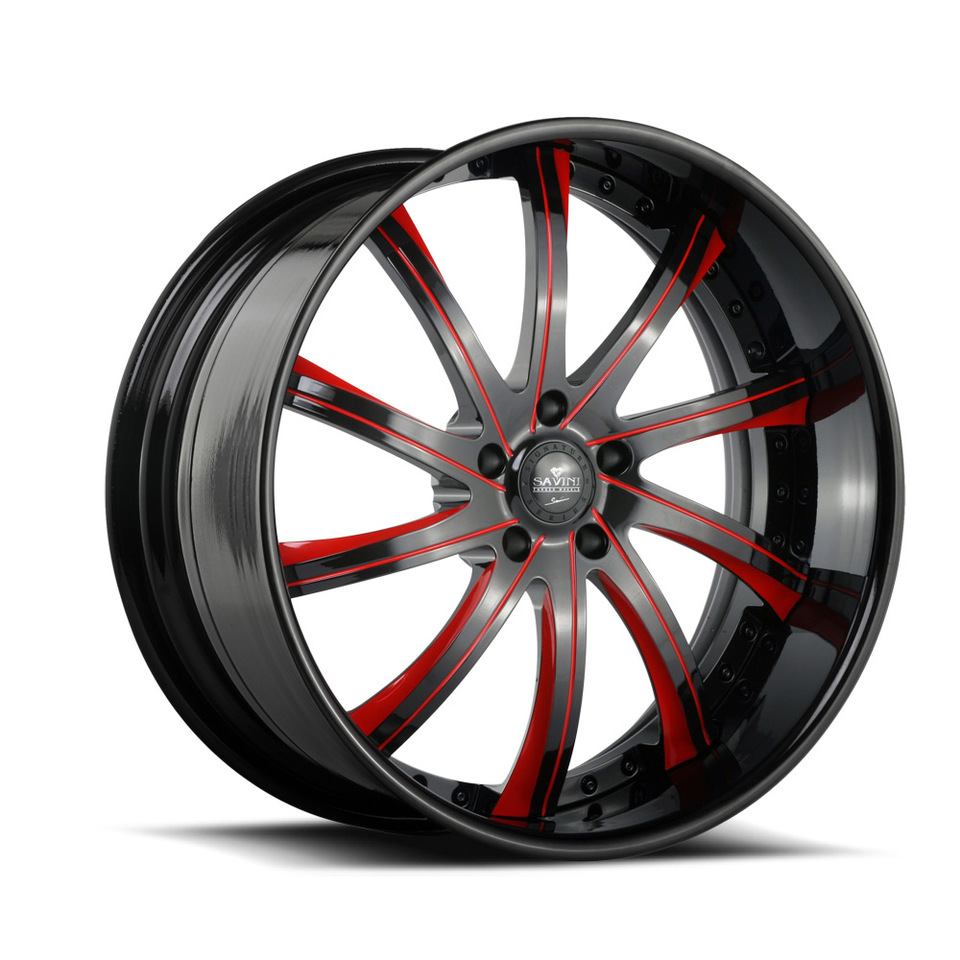 Savini Forged SV37s Black and Red XLT Wheels