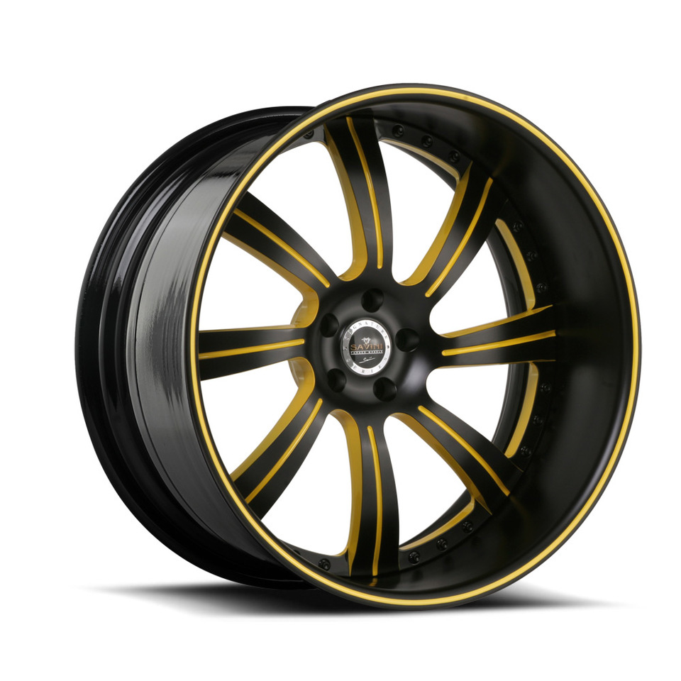 Savini Forged SV38 Black and Yellow Signature Wheels