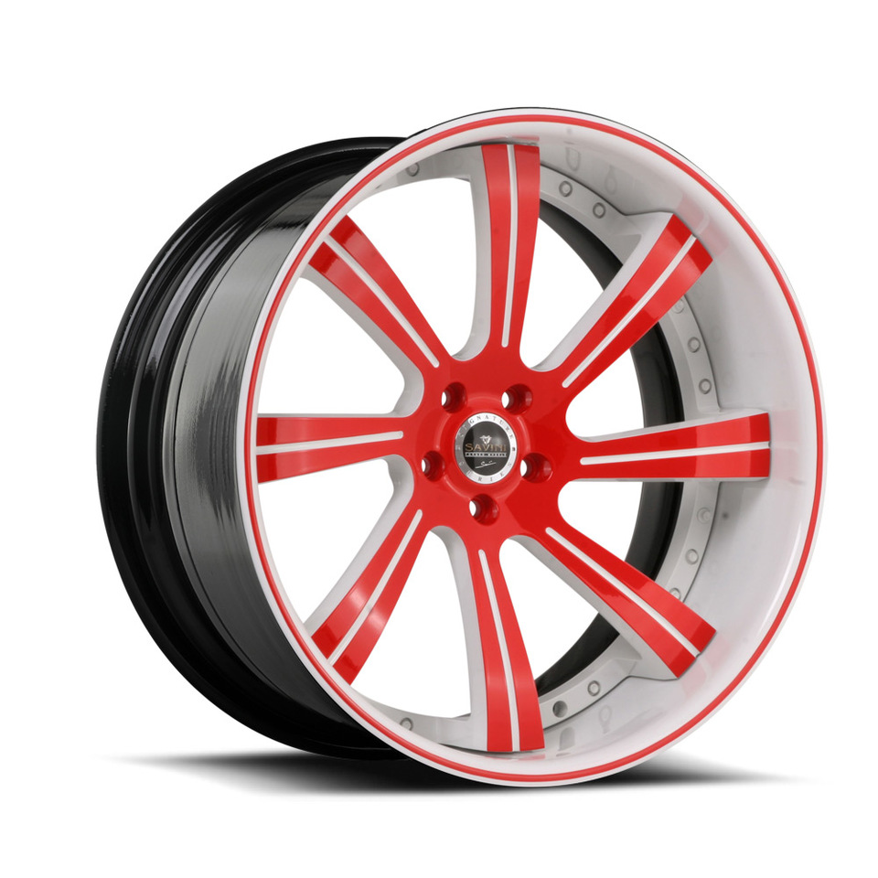 Savini Forged SV38c Red and White XC Wheels