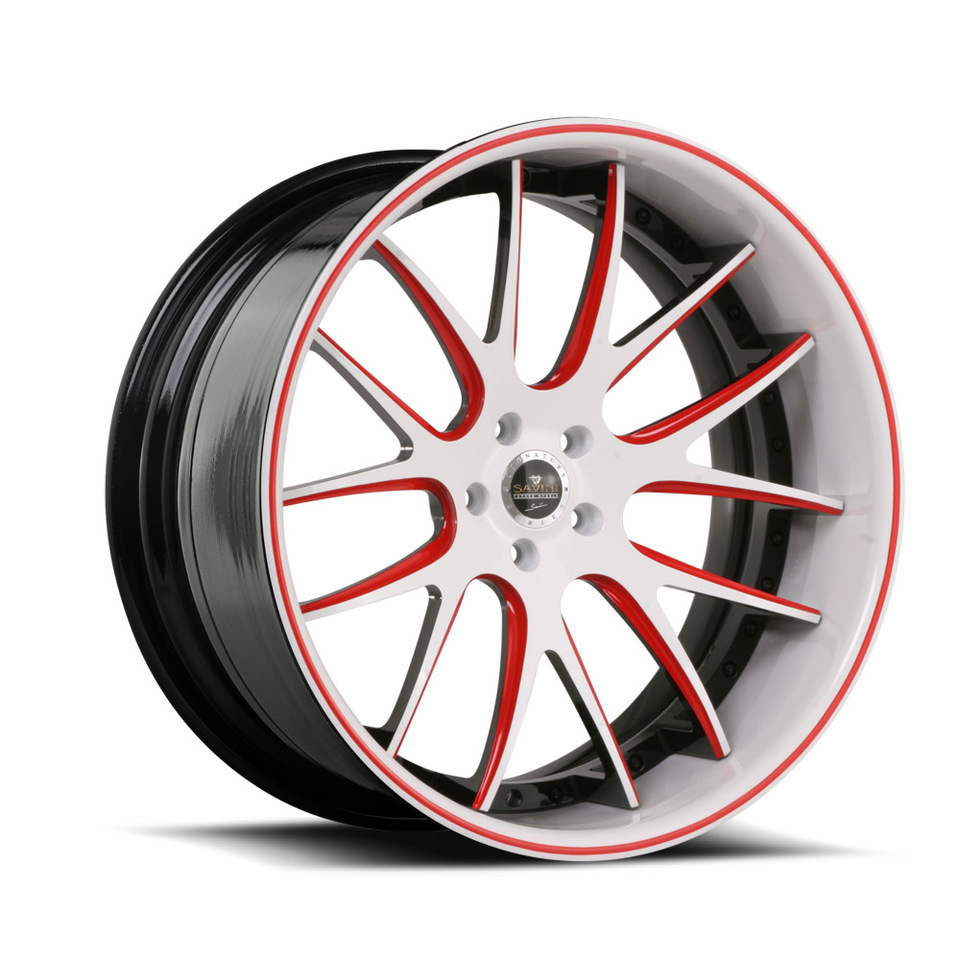Savini Forged SV39c White and Red XC Wheels