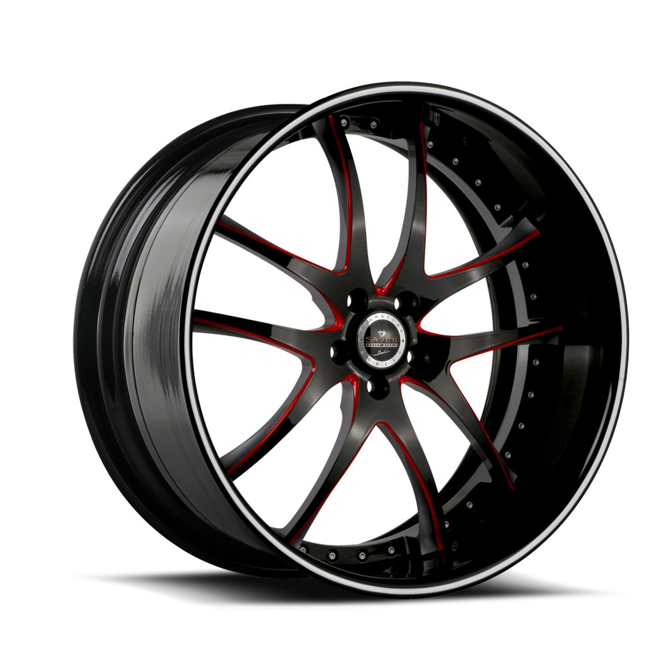 Savini Forged SV40s Red and Black XLT Wheels