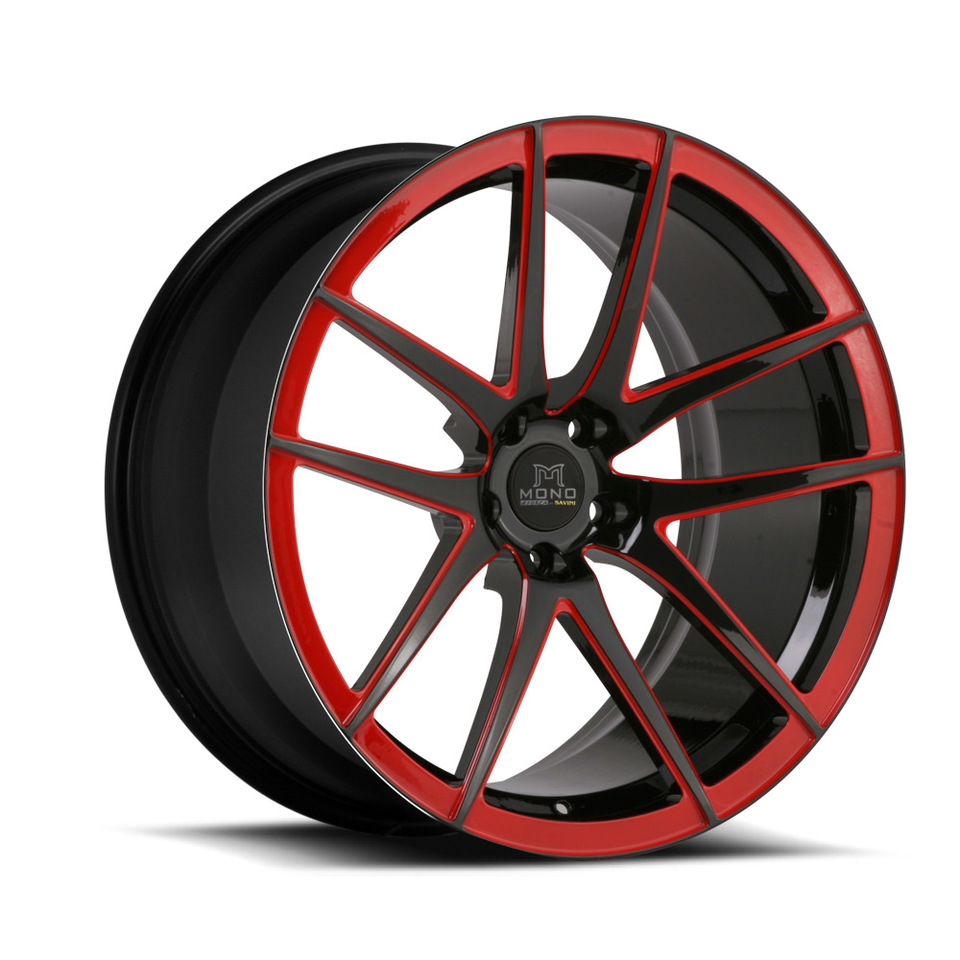 Savini Forged SV40m Black and Red Mono Wheels